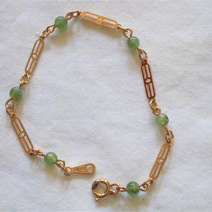 """Avon Vintage """"Touch of Color"""" Jade Tone Bracelet"""